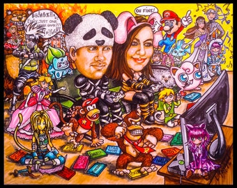 Christmas cards, custom caricature, portrait caricature, portrait cartoon,