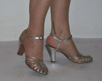 Ultra glamourous 1940s CC41 silver strappy evening sandals US 8 / UK 6 Utility