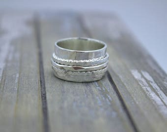 Sterling Silver Fiddle Spinner Ring - silver wide band ring SR110