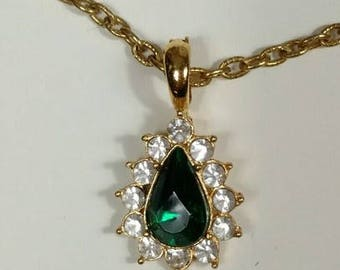 Emerald Green Teardrop Necklace Enhancer with Crystals - S2219