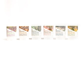 Vegan Sensitive Skin Travel Deodorant Variety Pack - Aluminum Free & All Natural - Choose Your Fragrances