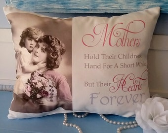 Handmade Mothers Hold Their Children's Hand Gift Pillow, Mother's Day Gift, Gift For Mom