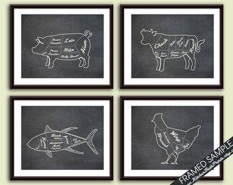 Pork, Beef, Fish and Chicken (Butcher Diagram Outline Series C) - Set of 4 - Art Prints (Featured Vintage Chalkboard) Kitchen Prints