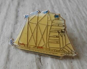 Vintage Sail Boat Schooner Pin.  Lapel Pin, Cufflinks, Dad, Groomsmen Gift, Birthday.