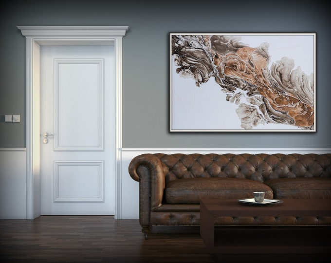 Fine Art Painting, Abstract Art, Wall Art Print, Modern Painting, Brown and White Wall Decor, HUGE Wall Art, Abstract Print 8 x 12 - 54 x81