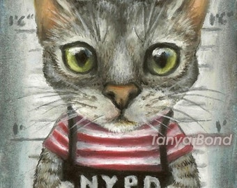 Mugshot of a cat felon arrested while attempting a bank heist - 5x7 print of painting by Tanya Bond
