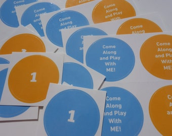 "48 - Number ONE & ""Come Along and Play With Me"" Song Circle Laminated Stickers - Orange Blue DIY First Baby Toddler Birthday Tags, Favors"