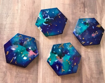 Galaxy Marble Hexagon Coasters