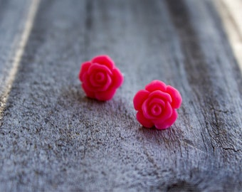 Berry pink Rose Earrings.  Rose cabochon. Boho rose earrings. Gift for your loved one.