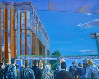 Blue Sky Thinking, Original Painting in Acrylic of East Croydon tram stop