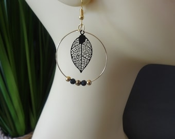 Stainless steel hoops, faceted, black, gold, gold, brass, leaf, Bohemian, gift, chic, unique creation