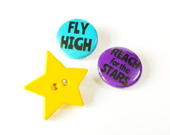 Star Button Brooch - Fly High, Reach for the Stars - Motivational Pin Badge Gift Set