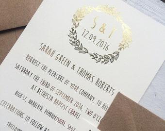 Rustic wedding invitation, gold foil wedding invitation, bohemian wedding invitation, boho wedding