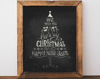 Chalkboard Calligraphy Christmas Tree - Christmas Art, Christmas Print, Calligraphy, Merry Christmas, Christmas Decor, Chalkboard Print