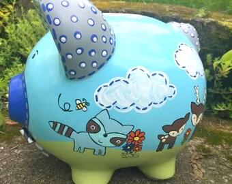 Large Piggy Bank, Woodland Piggy Bank, Blue and Green Piggy Bank, Personalized Piggy Bank, Baby First Bank, Jumbo Piggy Bank, Boy Bank