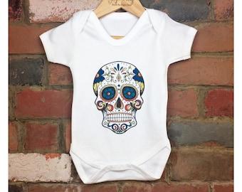 Sugar Skull Baby Bodysuits, Baby Sugar Skull Outfit, Baby Skull, Skull Clothes, Cool Baby Gift, Kids Bodysuit, Skull Tattoo, Baby Sleepsuit