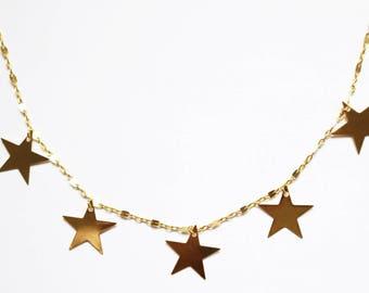 Glazed 24K Choker - 24K Gold Plated - Star Choker Necklace - Gold Choker Necklace- Tattoo Choker - Gold Necklace - Star Charm