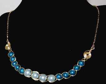 One-of0a-Kind Light Blue and Cobalt Blue wire wrapped Necklace