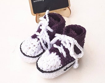 Cotton baby sneakers, purple baby shoes, crochet baby booties, baby high top trainers, crochet baby sneakers, new baby boots, new baby gift
