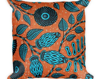 African Flowers, MadMan Threads, Square Pillow