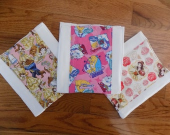Set of 3 - Beauty and the Beast Burp Cloths - Baby Shower Gift
