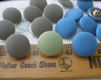"""Taupe Blue or Mint green Fabric Cover Buttons 3/4"""" shank style size 30L 19MM embellish crafts clothes pillow tufting home decor 9 pieces"""