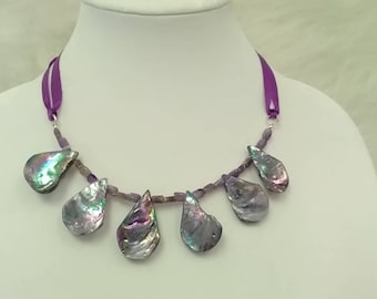 Iridescent purple and silver shell and bead ribbon necklace