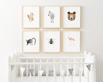 Set of 6 Geometric Art Prints, Nursery Art, Baby Room Art, Baby Art Print, Minimal Art Print