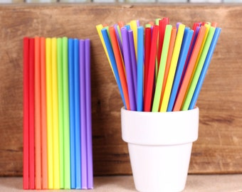 Happy Rainbow Lollipop Sticks, Small Rainbow Cake Pop Sticks, Lolly Sticks, Pop Sticks, Rainbow Sucker Sticks, Plastic Lollipop Sticks