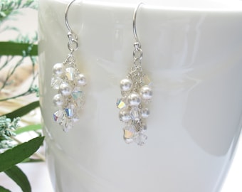 Bridal Earrings, Swarovski Pearls And Crystals Earrings, Crystal Earrings In Sterling Silver, Made By Keira's Crystal Creations