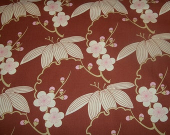 Trailing Cherry By Amy Butler Midwest Modest collection called cherry blossoms on light brown 1 yard cotton quilt fabric