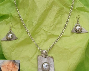 Adornment necklace and earrings, gunmetal and silver