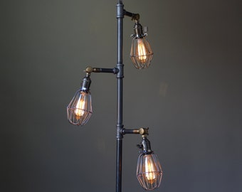 Industrial Style Floor Lamp   Edison Bulb Cage   Industrial Furniture    Pipe Lamp   Standing