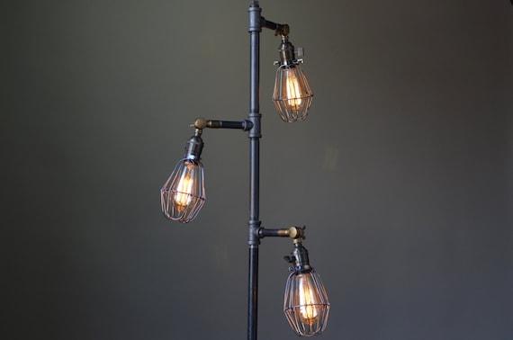 Industrial style floor lamp edison bulb cage industrial