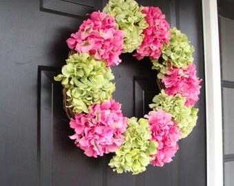SUMMER WREATH SALE Hydrangea Spring Wreath- Summer Wreaths- Spring Hydrangeas- Custom Hydrangea Wreath- Door Wreath