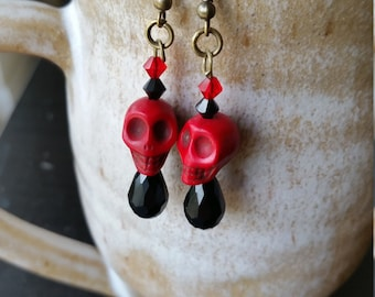 Red Sugar Skull Earrings w/ Swarovskis