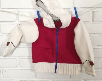 Hoody Ladybug! Jean Jacket, recycled sweater and jeans, red jean jacket, white sweater hoody, unisex jean hoody, upcycled toddler wear
