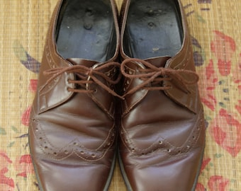 Brown mens oxfords. 70s mens shoes. Brown brogues. Brown leather derby shoes 43.