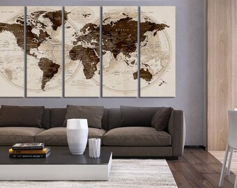 Extra Large Wall Art Push Pin World Map 5 Pieces Canvas Print, Large Wall  Decor