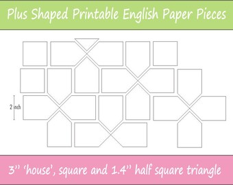 "3"" Printable Plus Shaped Pieces for English Paper Piecing 