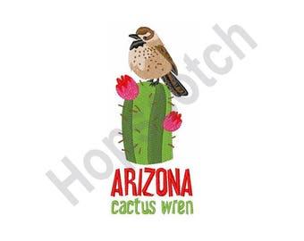 Arizona Cactus Wren - Machine Embroidery Design - 5 X 7 Hoop, State Bird