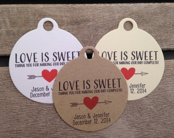 Wedding Gift Tags - Love Is Sweet - Wedding Favor Tags - Customizable Personalized (WT1426)