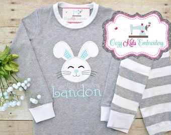 Easter pajamas, bunny pajamas, girls pajamas, boys pajamas, spring pajama, pj, bunny applique, bunny embroidery