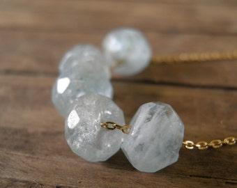 Aquamarine Necklace, Birthstone Jewelry, Faceted Aquamarine, March Birthstone, Gold Necklace, Gift For Her, Aquamarine Jewelry, Gemstone