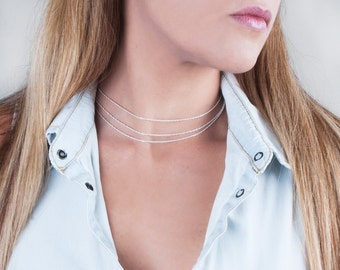 Sterling Silver Choker Necklace, Layered Choker Necklace, Necklace Set of 3, Double Layer Necklace, Thin Chain Necklace, Gold Fill Necklace