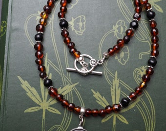 Baltic Amber and Real, Organic, Lignite Jet Witches Necklace with Labyrinth Pendant - Pagan, Wicca, Ritual, Magic