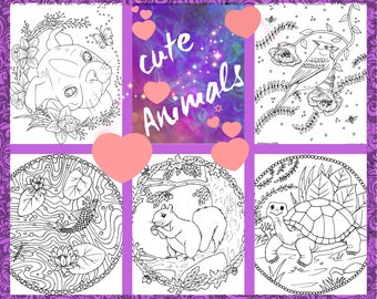 coloring pages,cute animals,adult coloring,5 page pdf
