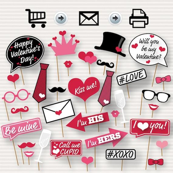 Fresh Valentine's Day Printable Photo Booth Props DZ86