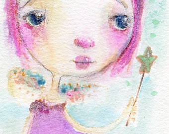 Plum Fairy Princess  - art print by Mindy Lacefield