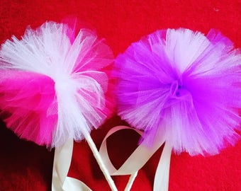 Princess tutu wands, tulle wand, dressing up wand, fairy wand, children's wand, handmade wand, pompom wand, party gifts, princess party.